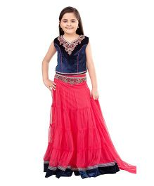 Betty By Tiny Kingdom Choli Set - Royal Blue & Pink