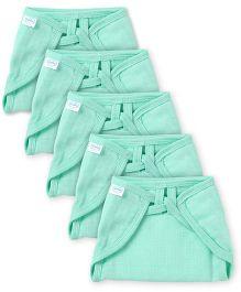 Babyhug U Shape Muslin Nappy Set Lace Small Pack Of 5 - Mint