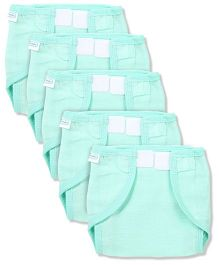 Babyhug Muslin Cotton Cloth Nappies With Velcro Small Set Of 5 - Mint Green