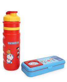 Doraemon Sipper Bottle With Pencil Box Set Red And Blue - 600 ml