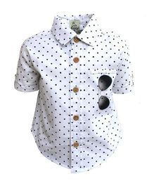 A Little Fable Half Sleeves Shirt Sunglasses Print - White