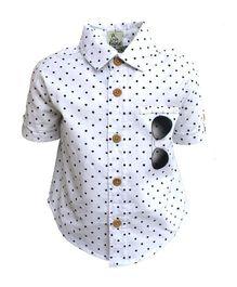 A Little Fable Half Sleeves Shirt Sunglasses Print - White