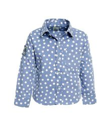A Little Fable Full Sleeves Shirt Dots Print - Blue