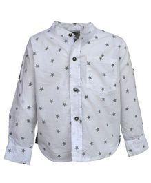 A Little Fable Full Sleeves Shirt Stars Print - White