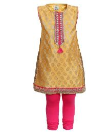 A Little Fable Sleeveless Kurta and Churidar Set - Yellow Pink