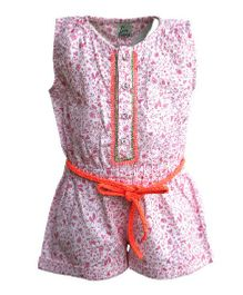 A Little Fable Sleeveless Jumpsuit Birds Print - White Pink