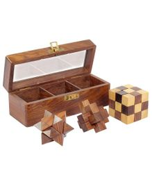 Desi Toys Wooden Puzzle Pack Of 3 - Brown