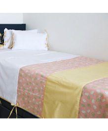Kids Clan Little Barn Printed Quilt & Cushion Cot Set - White & Peach