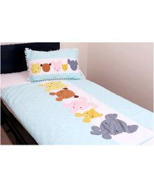 Kids Clan Sleeping Cute Printed Quilt & Pillow Bed Set - White & Blue