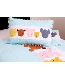 Kids Clan Sleeping Cute Printed Set Of 2 Pillow Covers - White & Blue