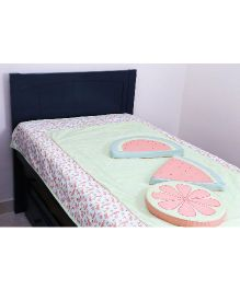 Kids Clan Watermelon Summer Bed Set - Lime Green White Peach