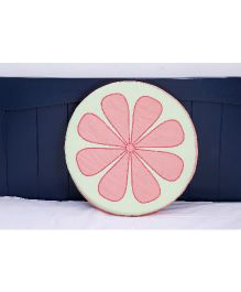 Kids Clan Flower Cushion Cover - Green & Pink