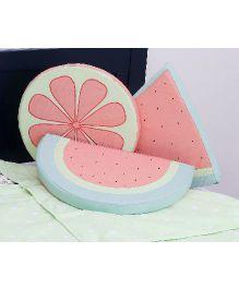 Kids Clan Watermelon And Floral Design Cushion Set - Green & Peach
