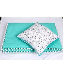 Kids Clan Emerald Love Quilt And Cushion Set - Green & White