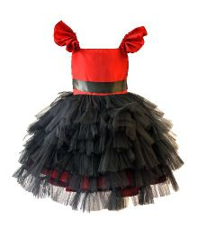 Darlee&Dache Flutter Sleeves Party Dress Frill Pattern - Red And Black