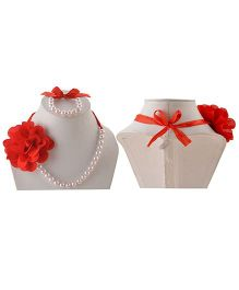 Miss Diva Flower Necklace & Bracelet Set With Ribbon - Red