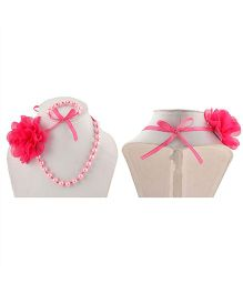 Miss Diva Flower Necklace & Bracelet Set With Ribbon - Magenta