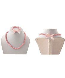 Miss Diva Beaded Necklace & Bracelet Set With Bow - Pink