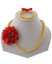Miss Diva Beaded Necklace & Bracelet Set With Flower - Yellow