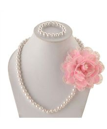 Miss Diva Elegant Flower With Beads Necklace & Bracelet Set - Pink