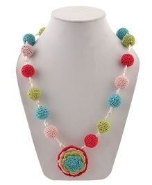 Miss Diva Hand Crochet Beads & Flower Necklace - Multicolour