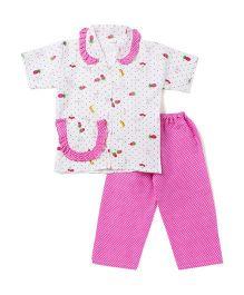 BownBee Half Sleeves Night Suit Polka Dot Fruit Print - Pink