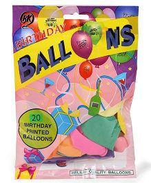 BK Happy Birthday Printed Party Balloons 20 Pieces - Multi Color
