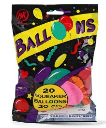BK Balloons Squeaker Balloons 20 Pieces - Multi Color
