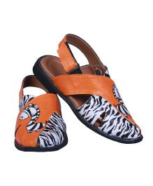 Pre Order Brush Strokes Hand Painted Sandals Zebra Design - Black White Orange
