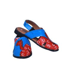 Pre Order Brush Strokes Hand Painted Sandals Horse Design - Red & Blue