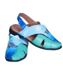 Pre Order Brush Strokes Hand Painted Sandals Whale Design - Blue