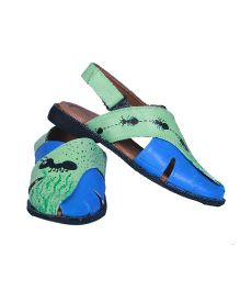 Pre Order Brush Strokes Hand Painted Sandals Ants Design - Blue & Green