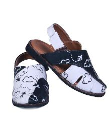 Pre Order Brush Strokes Hand Painted Sandals Sky Design - White & Black
