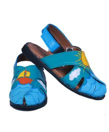 Pre Order Brush Strokes Hand Painted Sandals Ship In The Sea Design - Blue