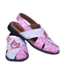 Pre Order Brush Strokes Hand Painted Sandals Owl Design - Pink & White