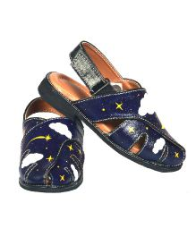 Pre Order Brush Strokes Hand Painted Sandals Night Sky Design - Navy Blue