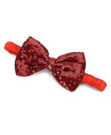 A.T.U.N. Sequins Classic Bow Headband - Copper & Tangerine