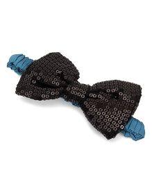 A.T.U.N. Sequins Classic Bow Headband - Black & Turquoise