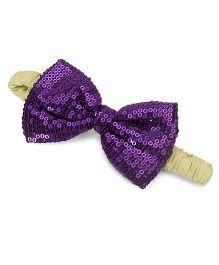 A.T.U.N. Sequins Classic Bow Headband - Violet & Green