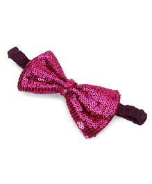 A.T.U.N. Sequins Classic Bow Headband - Magenta & Wine