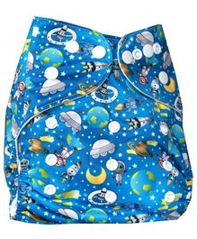 ChuddyBuddy Cloth Diaper With Space Print - Blue