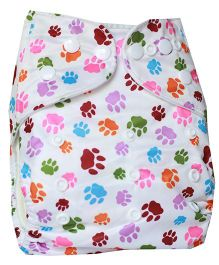 ChuddyBuddy Cloth Diaper With Insert With Paws Print - White