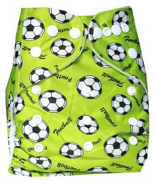 ChuddyBuddy Cloth Diaper With Insert With Football Print - Green