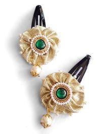 Soulfulsaai Stone Studded Kundan Pearl Work Ethnic Hair Clip - Golden