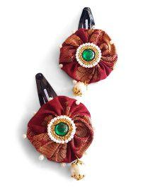 Soulfulsaai Stone Studded Kundan Pearl Work Ethnic Hair Clip - Maroon