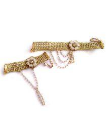 Soulfulsaai Jali Design Pearl Choker Necklace & Bracelet Set - Golden