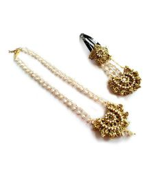Soulfulsaai Jhumar Style Peral Necklace & Clip Set - Golden