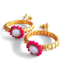 Soulfulsaai Gota Flower With Mirror And Pom Pom Lace Bangles - Pink & Golden