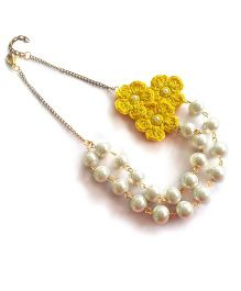 Soulfulsaai Pearl Necklace With Crochet Flower - Yellow