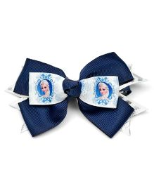 Ribbon Candy Doll Print Bow Alligator Clip - Navy Blue